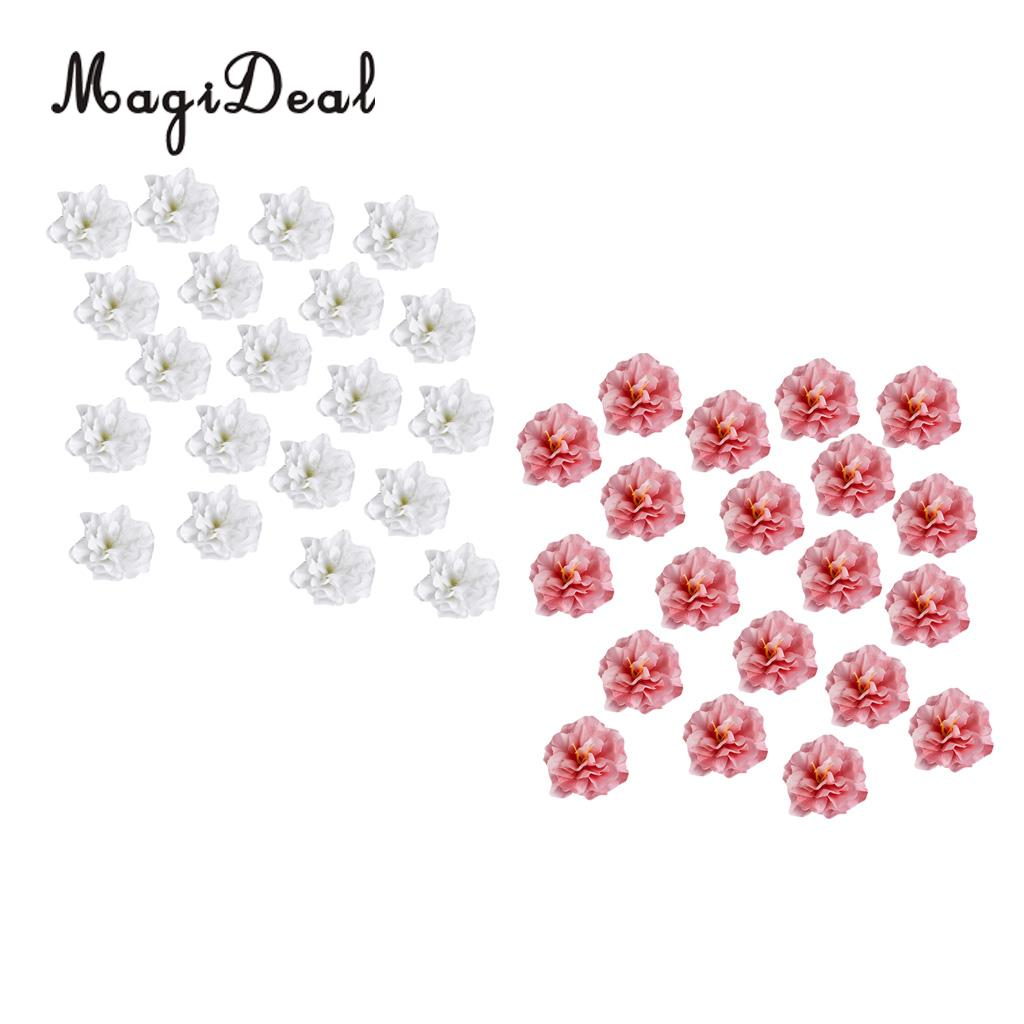 40pcs 8cm Artificial Silk 3.15 Peony Rose Flower Head for Wedding Home Party Decoration Hair Clip Wreath Decoration