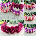 Rose Flower Crown Headband Double Row Floral Garland Hairband For Wedding Festival