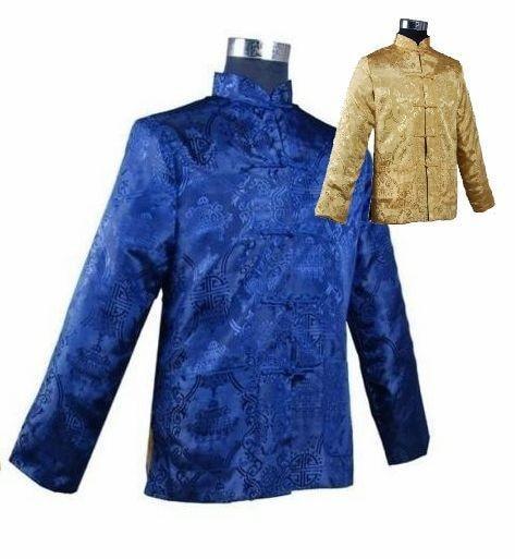 Blue Gold Novelty Reversible Men's Kung Fu Jacket Chinese Vintage Silk Satin Coat Two-Sided Wear Clothing M L XL XXL XXXL  WN024