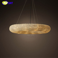FUMAR Torus Crystal Pendant Lights Lustre De Cristal Led K9 Crystal Loft Brief Cord Suspension Lamps Living Room Pendant Lights