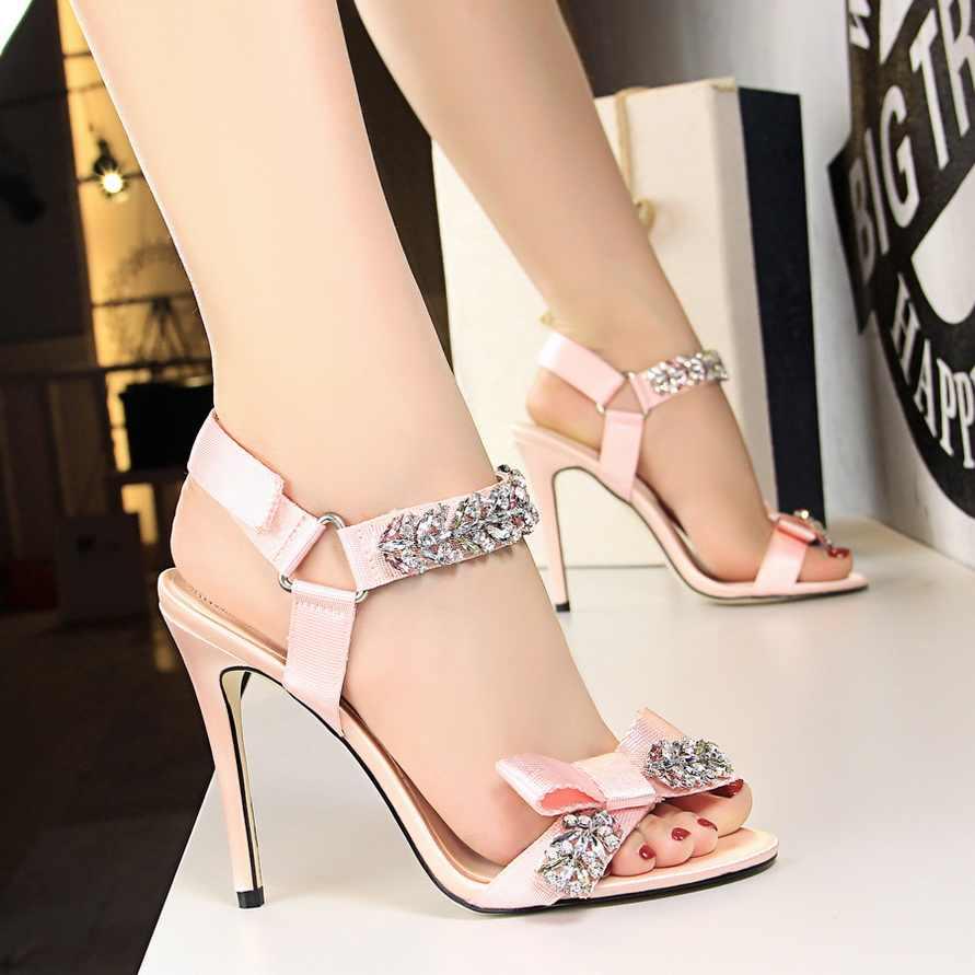 606e655c9 2018 Women Sexy 10cm High Heels Glitter Strass Pink Sandals Glitter Wedding Rhinestone  Sandals Female Luxury