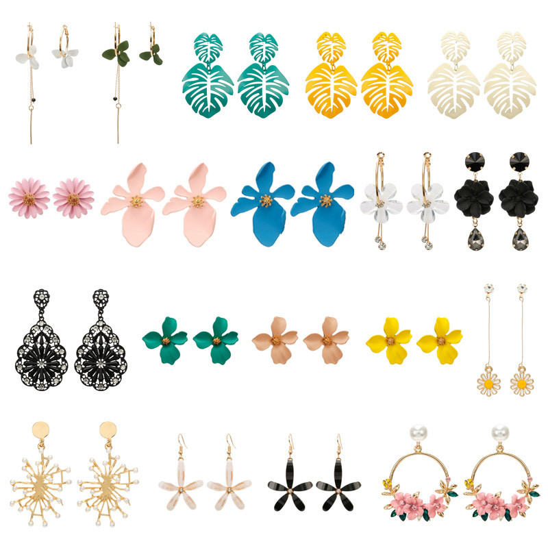 New Design Fashion Jewelry Elegant Big Flower Earrings Statement Earring For Girls Gift For Woman Acrylic Pearl Earrings Brincos