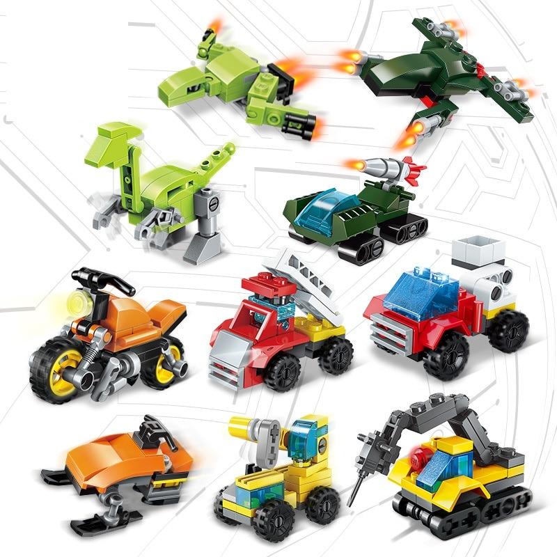 10-types Legoings Auto Bouwstenen Legoing Dinosaurus Kinderen Speelgoed Compatibel Met Legoing Duplo Dinosaurus Over 3 Jaar Abs Geselecteerd Materiaal