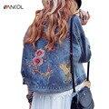 vancol fashion loose autumn flower birds Embroidery denim jacket women long sleeve single breasted winter ladies basic coats