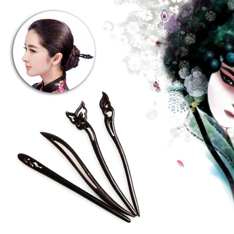 Chinese Classic Ancient Handmade Black Ebony Dish Made Wood Hairpin Hair Sticks