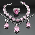 New Arrival Pink Created Topaz Silver Color Jewelry Sets Necklace Pendant Earrings Bracelets Rings For Women Free Gift Box