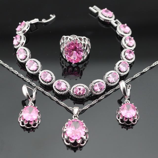 Nova Chegada Rosa Criado Topázio Cor Prata Colar Pingente Pulseiras Brincos Anéis Conjuntos de Jóias Para As Mulheres Caixa de Presente Livre