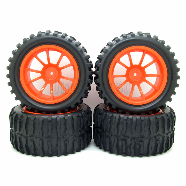ФОТО 4x 1:10 rc monster truck car wheel tyre tires w/ double 5 spokes wheel rim red rc parts