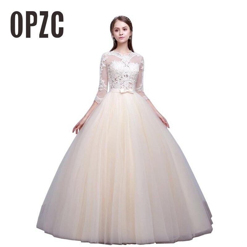 champagne white Luxury Appliques Princess Elegant Wedding Dress 2019 New Three Quarter Sleeve Bridal Gowns Vestidos