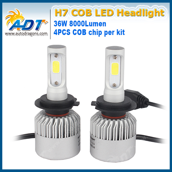 S2 H16 H7 LED Headlight COB 12V 72W 8000LM 6500K shine well super bright Strong penetration in snowy weather waterproof