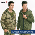 Winter Warm Double-Faced Jackets Waterproof Windproof Hooded Coats Men Military Camo Coats Army Green Mens Down& Parkas Ms-6399A