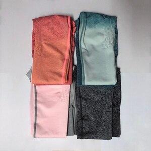 Image 5 - Kobiety joga zestaw odzież sportowa Ombre bezszwowe legginsy + przycięte koszule trening sportowy garnitur kobiety z długim rękawem zestaw do fitnessu odzież sportowa