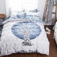 2016 vogue bed linen panel sunflower trees porcelain bedding set duvet cover flat/fitted sheet pillow cases 4pcs kit