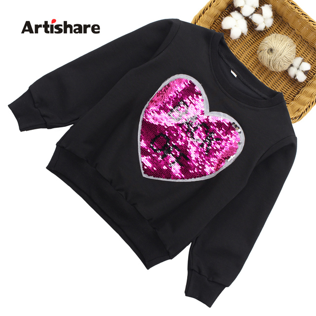 Girls Tops Long Sleeve T-shirts Girls Changeable Sequins Boys Outerwear Spring Autumn Teenage Kids Sweatshirt 2 8 9 10 12 Years