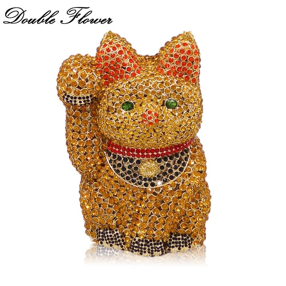 Double fleur Vintage rétro 3D Fortune chat forme femmes or cristal embrayage soirée sacs de mariage Minaudiere sac à main sac à main