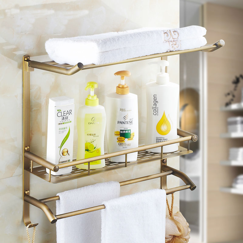 3 Types Antique Wall Mounted Bathroom Storage Rack Shelves Copper Square Shelf Golden Br Towel Bars Vintage In From Home