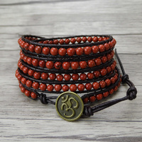 Boho Red bead wrap bracelet leather wrap bracelet Yoga bead bracelet western Natural stone Jewelry