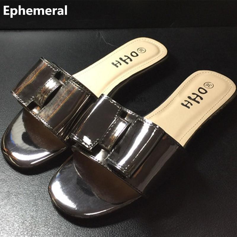 Diapositivas de verano de alta calidad para mujer zapatos de mariposa zapatillas planas para mujer punta abierta tamaño máximo 45 43 chanclas blanco y negro