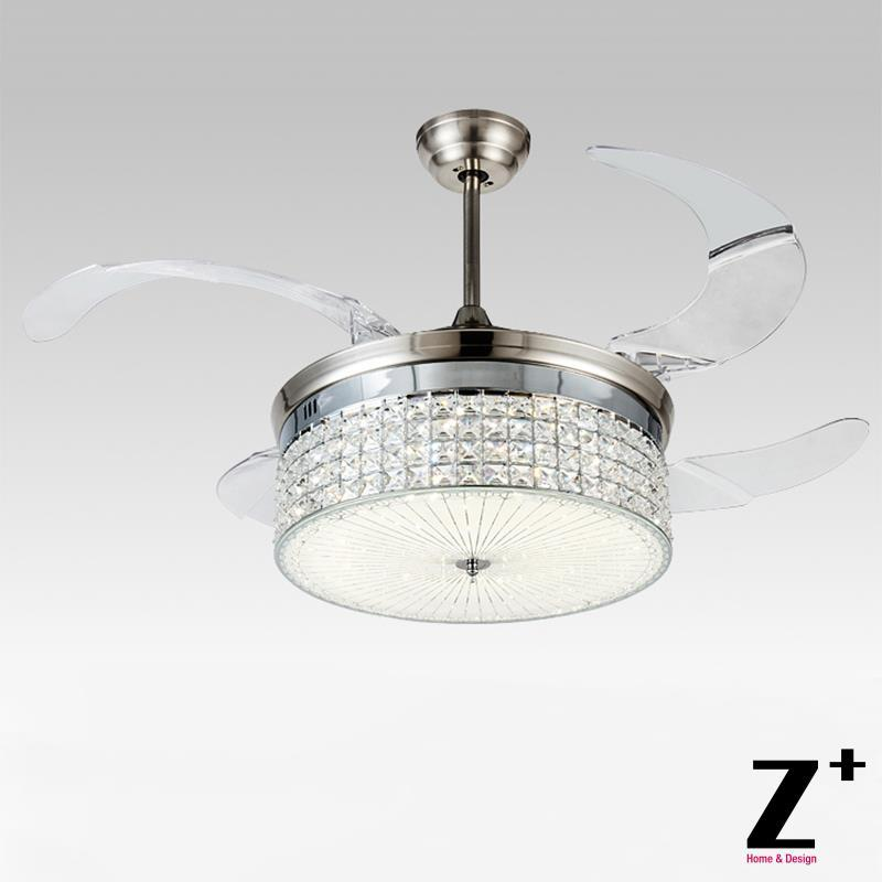 Aliexpress Buy American Modern Style Led Lights 4 Collapsible Fan Crystal Chandelier With Remote Control 42 Lightcolor Adjustable Freeship From