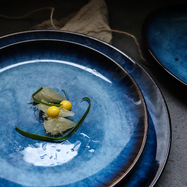 Western Styled Blue Ceramic Plate