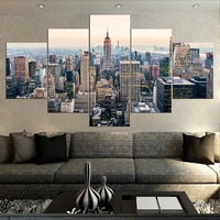 Manhattan Usa 5 Piece Modern New York City Skyscrapers Landscape Skyline Cityscape Painting In Canvas Home Decor Wall Art Poster