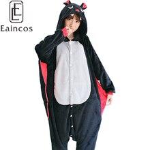 Bat Pijamas adultos Onesies Pijamas de Franela Animal del Dibujo Animado Negro Cosplay Traje de Fiesta de Halloween Pijamas Homewear Para Hombres Mujeres