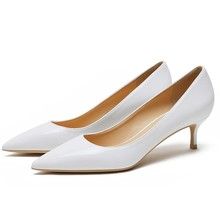 Woman Elegant Pumps Patent Leather Med Thin Heels Sexy Pointed Toe Basic Model Party Wedding Career Lady Shoes F0047