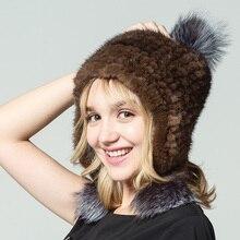 QIUSIDUN Hats For Women Real Fur Hat Winter Bonnet Femme Hiver Fur Of Mink Fox Pompon Russia Women's Knitted Hat Womens Hats