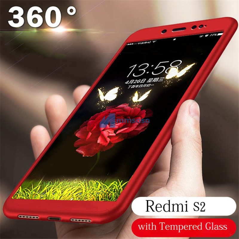 Redmi S2 Case 360 Degrees Full Phone Case on for Funda Xiaomi Redmi S2 Xiomi Y2 Shockproof Case Cover With Tempered Glass 360 degrees