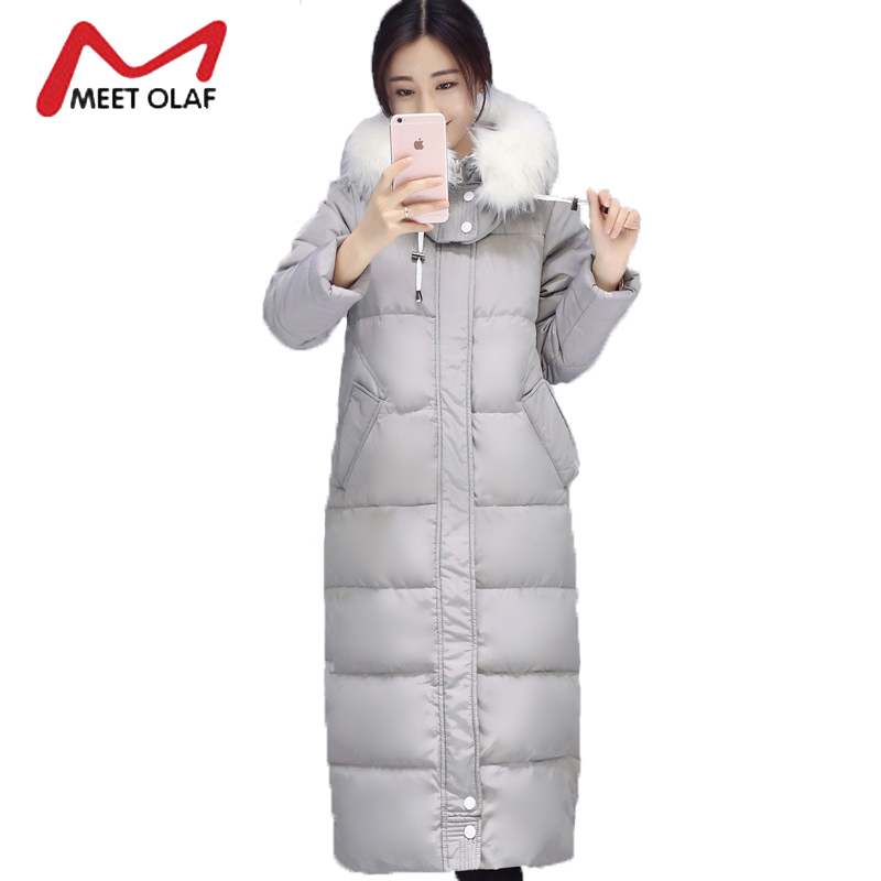 2017 Winter Jackets Women Winter Coats White Fur Hooded Female Long Parkas Cotton Padded Outwear  jaqueta feminina inverno Y1487