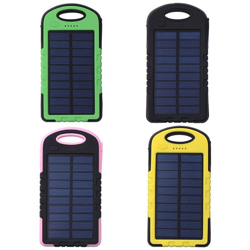 imágenes para Nueva 8000 mah banco de la energía solar cargador de teléfono usb cargador de batería externo para el iphone con led banco de potencia portátil de viaje al aire libre