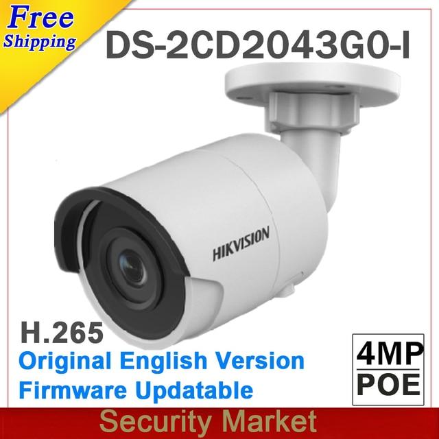 Оригинал hikvision английский DS-2CD2043G0-I заменить DS-2CD2042WD-I 4MP сети IP пуля ИК-POE слот SD-карты для камеры H265 264