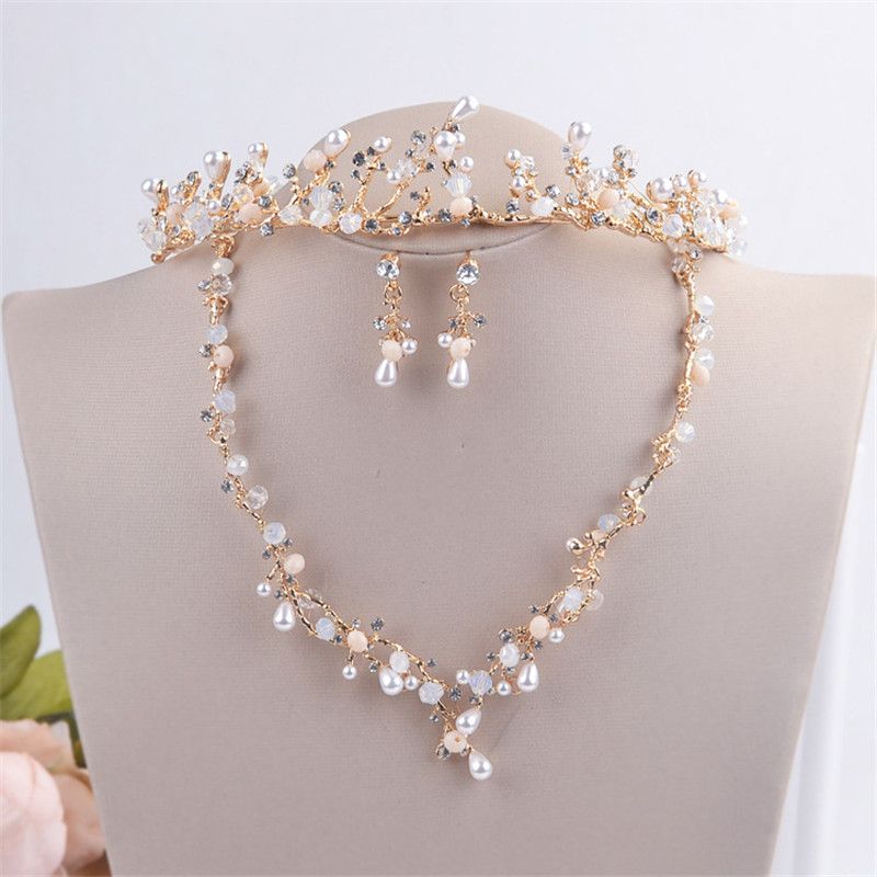 Luxurious Pearl Vine Tiara Headband Necklace Earrings Wedding Bridal Jewelry Sets For Women Prom Party Jewelry Accessories