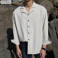 Oversized Striped Shirt Men Long Sleeve Camisa Listrada Masculina Korean Male Fashion Classic Black Shirt Social Masculino