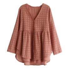 V ネックカーディガン綿人形シャツ女性の春 甘い森ガール中空アウト刺繍