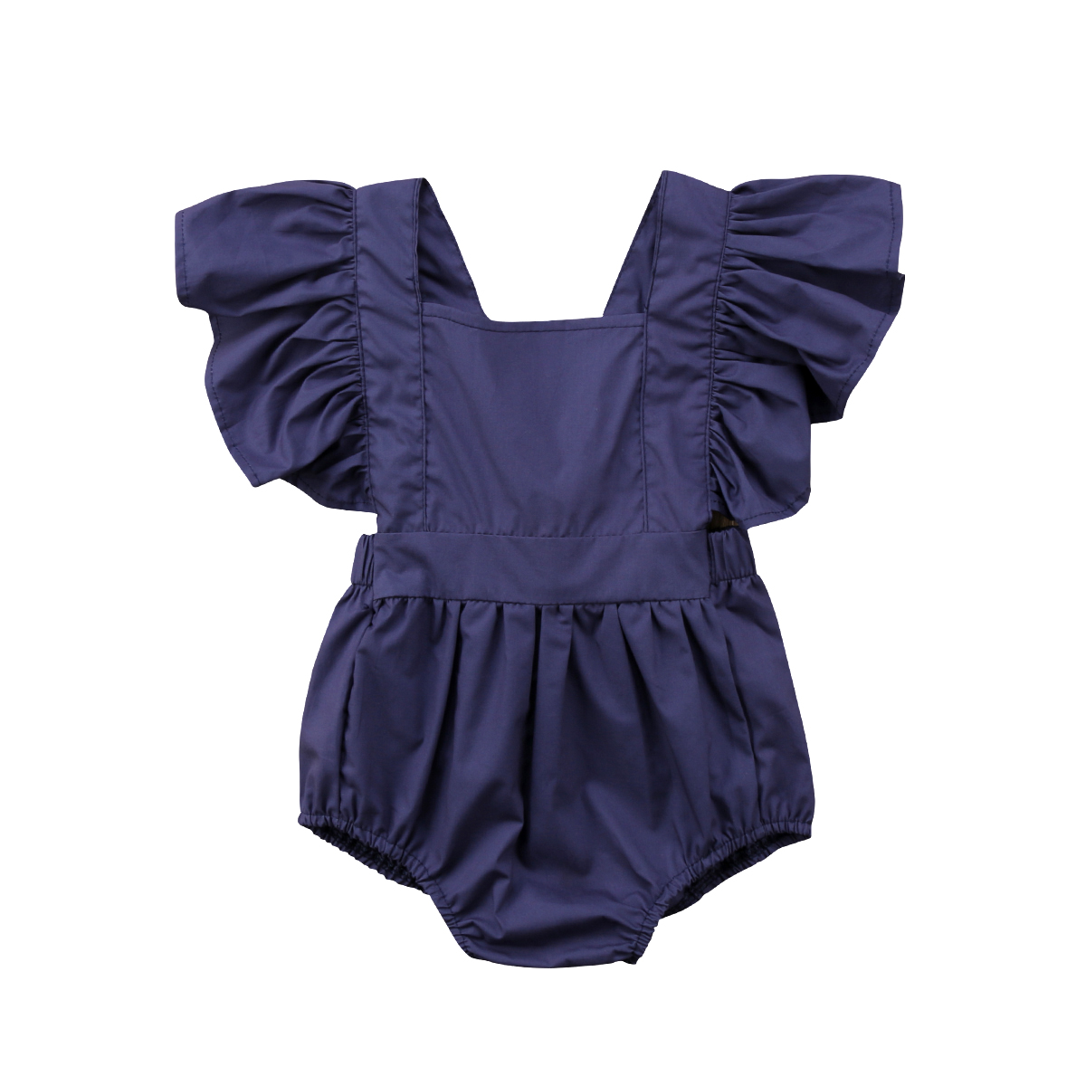 Cute Newborn Toddled Kids Baby Girls Clothes Flying Sleeve Solid Casual Jumpsuit Romper Sunsuit Summer Outfits 0-24M