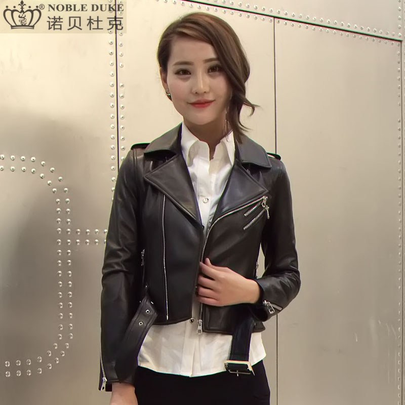 Factory 2017 New Women s Genuine Leather Jacket Fashion Lapel Short Slim Fit Real Sheepskin Motorcycle