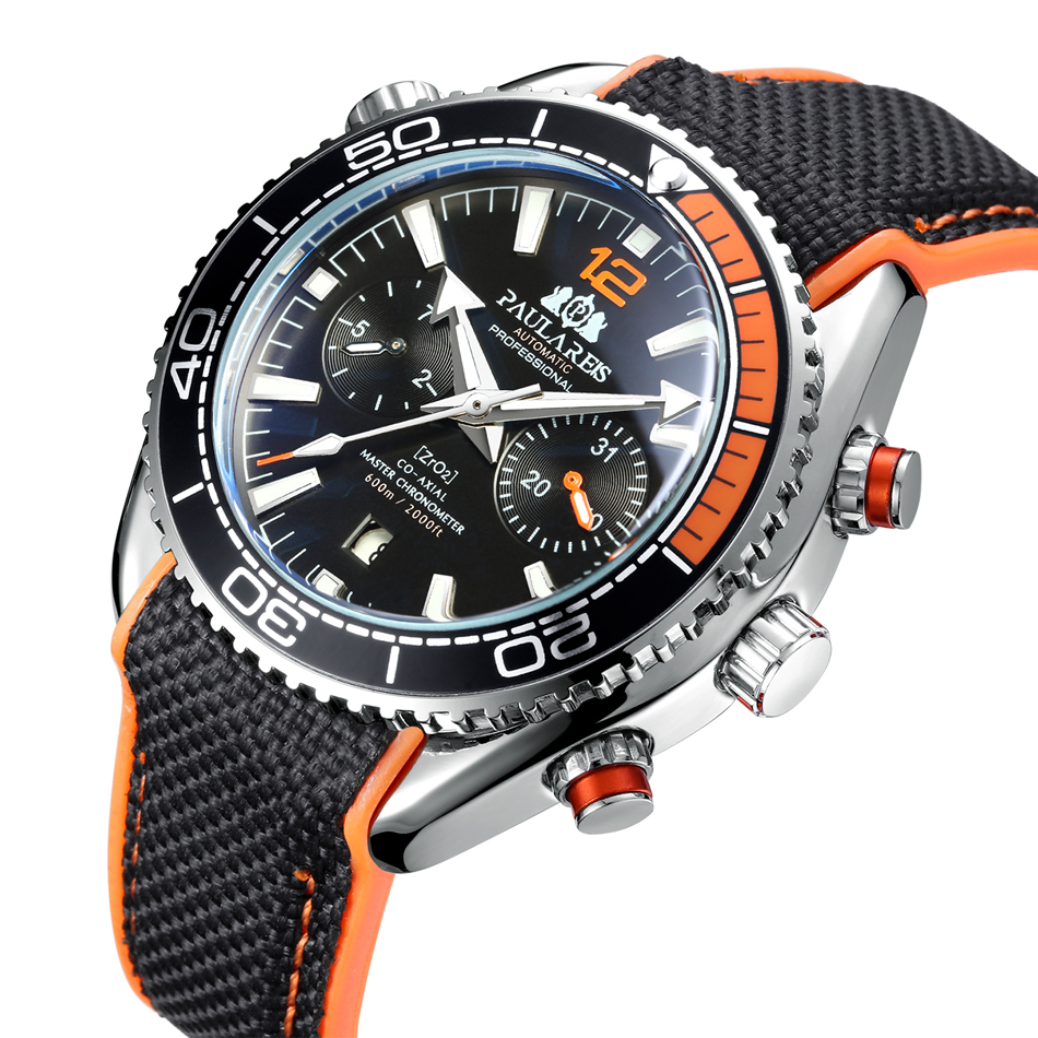 HTB1RryfdBOD3KVjSZFFq6An9pXaw Men Automatic Self Wind Mechanical Canvas Rubber James Bond 007 Style Orange Blue Multifunction Date Month Sport Watch