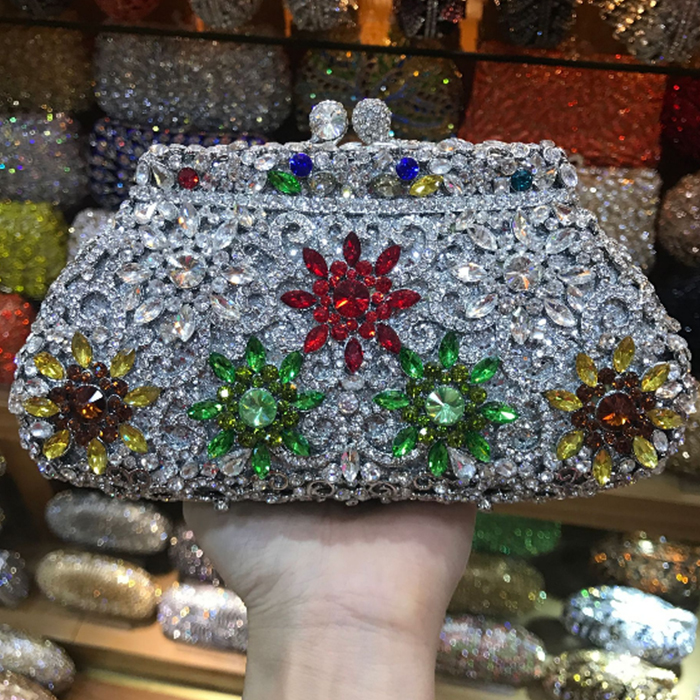 XIYUAN BRAND Newest Flower Evening Crystal Bag Golden Stones rhinestone Clutch Evening Bag Female Party Purse Wedding Clutch Bag flower evening crystal bag golden stones rhinestone clutch evening bag female party purse wedding clutch bag shoulder bags