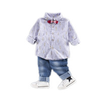 Children's spring long sleeve suit baby new rice shirt boy suit