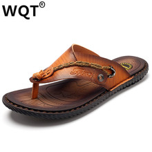 2017 New Summer Fashion Genuine Leather Sandals Men Flip Flops Casual Men Sandalias Hombre Beach Slippers Shoes For Man