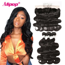 Alipop Hair Brazilian Body Wave Lace Frontal With Bundles Remy Human Hair Bundles With Frontal 10-28 Inch Bundles With Closure(China)