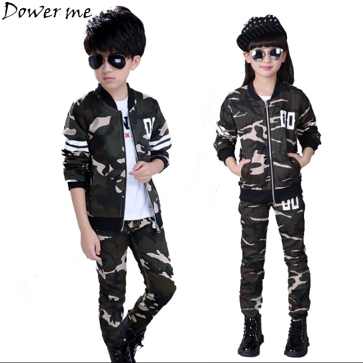 Kids Suits Boys Girls Cotton Army Green Coat Pants Sets Twinset Zipper Closure Camouflage Casual Kids Suit Boys Girl Tracksuits teenage girls clothes sets camouflage kids suit fashion costume boys clothing set tracksuits for girl 6 12 years coat pants