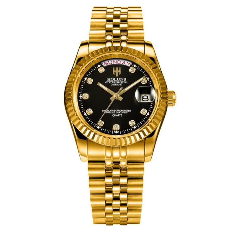 Holuns man watches 2018 brand luxury men gold quartz diamond waterproof gift dress watch relogio feminino fashion casual