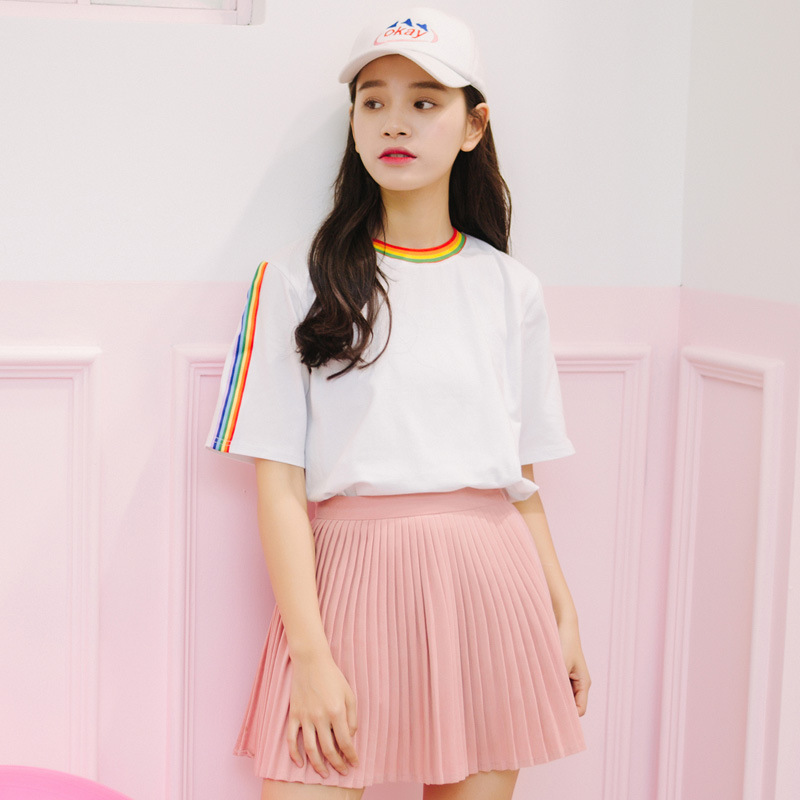 2018 New Summer Tops Cute Rainbow Harajuku Tshirts Women Clothing Cotton Sweet Streetwear Black White Tee Clothes Short Sleeves