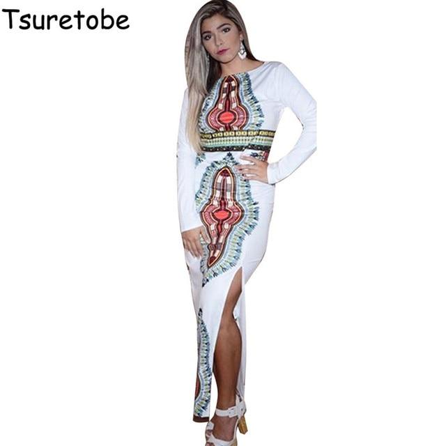 tsuretobe 2017 new fashion plus size long dashiki dresses women