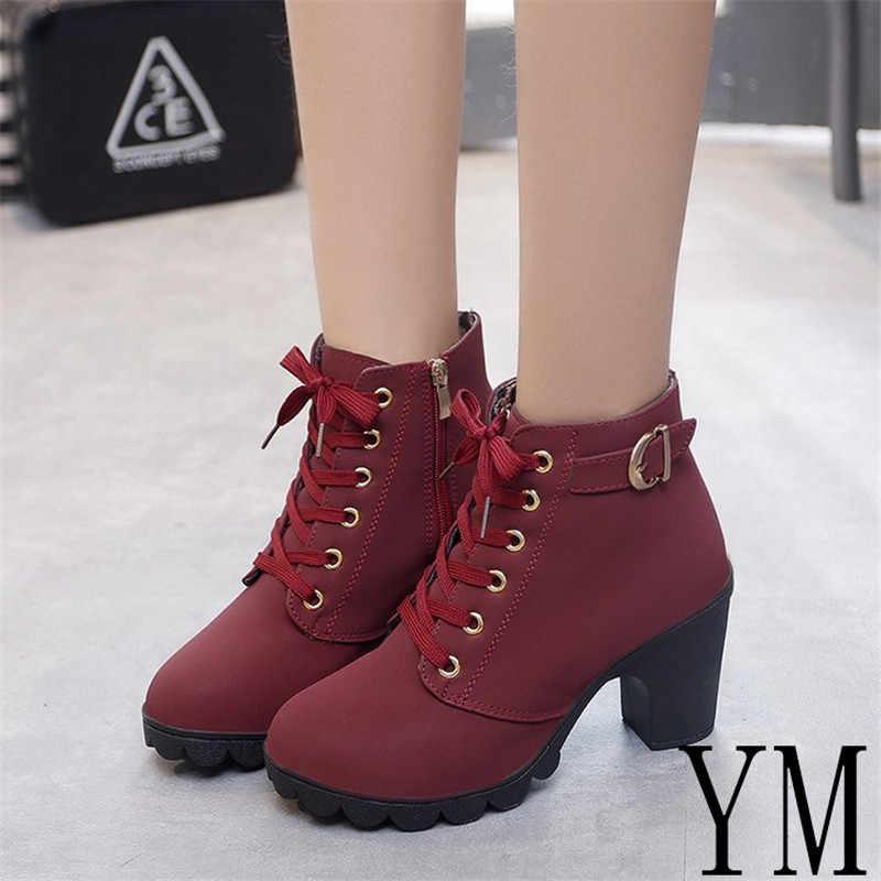 e56bba62d552 YM Winter casual Women pumps warm Ankle Boots Waterproof high heels Women  Snow Martin Boots shoes