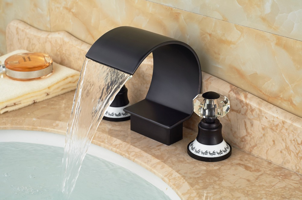 Luxury Ceramic Crystal Handles Oil Rubbed Bronze Waterfall Bathroom Basin Faucet free postage oil rubbed bronze tooth brush holder double ceramic cups holder