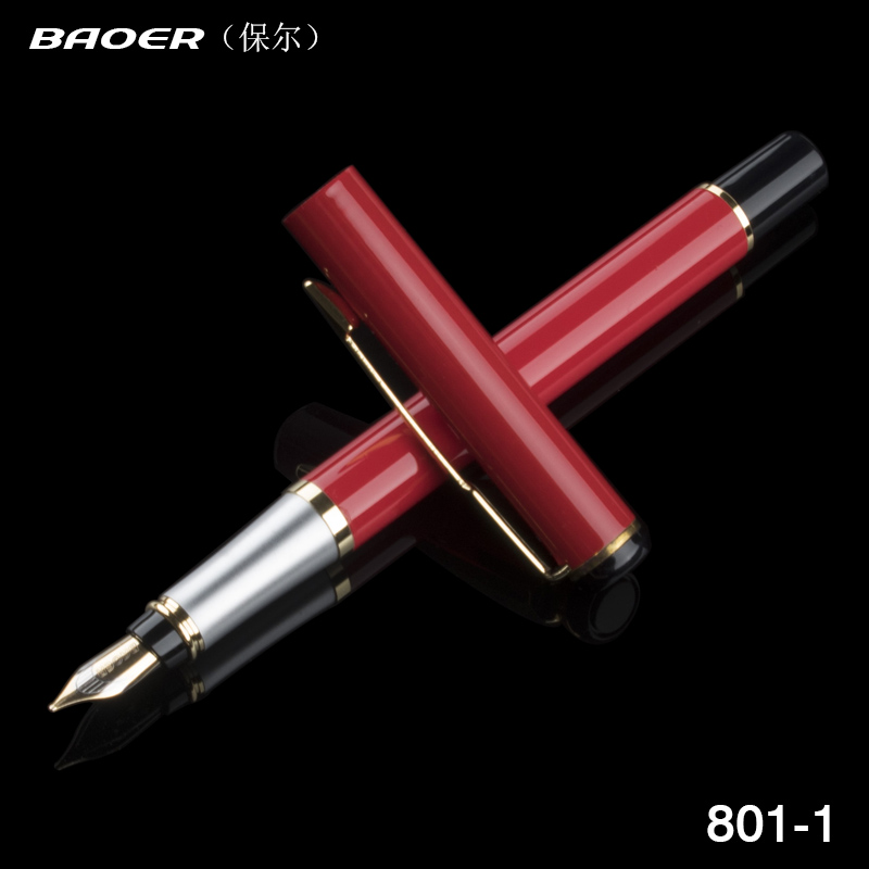 BAOER 801 Red Iraurita Business Ink Pen Bureau nib Fountain New Pen image