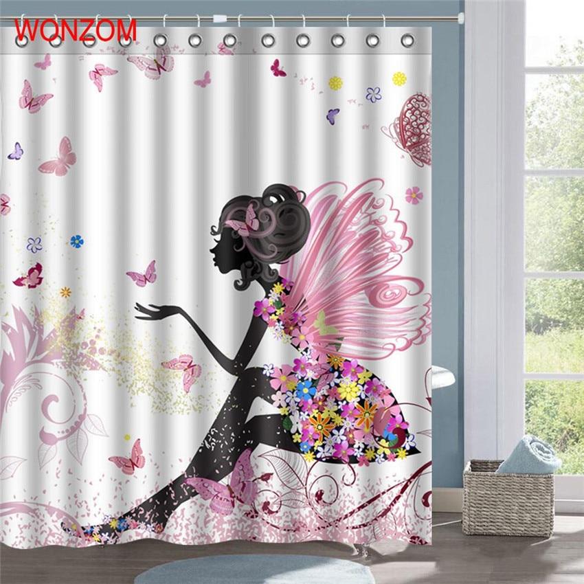 WONZOM 3D Polyester Elf Shower Curtains With 12 Hooks For Bathroom Decor Modern Bath Waterproof Curtain Accessories